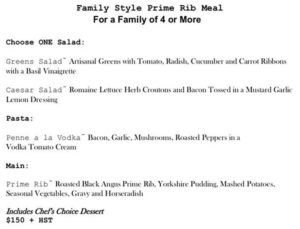 Family Style Prime Rib Meal for Take Out